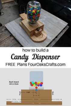 This tutorial shows how to make a wooden candy dispenser. Includes tutorial, FREE plans, and video instruction. It's a wonderful project to do with the kids or students. Also, a great project to make and sell.