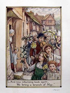 Photolithograph door Cicely Mary Barker  En nu weer terug, We brengen een tak van mei  van oude rijmpjes voor alle tijden  Gedrukt in 1926  Blad afmetingen: 19,4 x 25,5 cm  Voorwaarde: Sommige Vingeren. Bekijk beelden zorgvuldig.