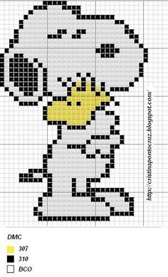 Snoopy e Woodstock Beaded Cross Stitch, Cross Stitch Embroidery, Beaded Snoopy, Cross Stitch Designs, Cross Stitch Patterns, Pixel Crochet, Stitch Cartoon, Pixel Pattern, Iron Beads