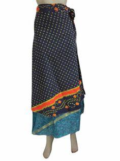 Amazon.com: Sari Wrap Two Layer Printed Long Wrap Around Skirt Sarong Multi Wear Dress: Clothing
