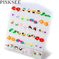 24pairs Kid Children Cartoon Fimo Polymer Clay Stud Earrings Animal Fruit Plant Ear Studs Jewelry Gift #Affiliate