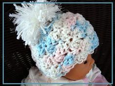 Crochet Pattern Shell stitch Hat, newborn to adult. #3CC