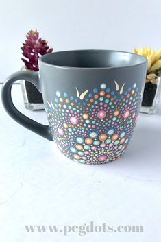 Gorgeous unique hand painted coffee mugs! Makes an awesome gift for any coffee lover. Click through for more gift ideas! Gorgeous unique hand painted coffee mugs! Makes an awesome gift for any coffee lover. Click through for more gift ideas! Dot Art Painting, Mandala Painting, Ceramic Painting, Ceramica Artistica Ideas, Pots D'argile, Painted Coffee Mugs, Hand Painted Mugs, Keramik Design, Pottery Painting Designs