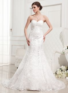 Wedding Dresses - $286.99 - Mermaid Sweetheart Court Train Satin Tulle Wedding Dress With Ruffle Lace Beadwork (002012829) http://jjshouse.com/Mermaid-Sweetheart-Court-Train-Satin-Tulle-Wedding-Dress-With-Ruffle-Lace-Beadwork-002012829-g12829