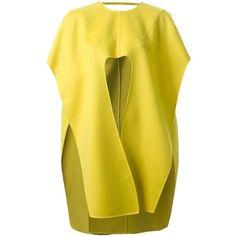 Esteban Cortazar cape coat ($5,035) ❤ liked on Polyvore featuring outerwear, coats, esteban cortazar, cape coat, yellow coat, yellow cape and cashmere cape