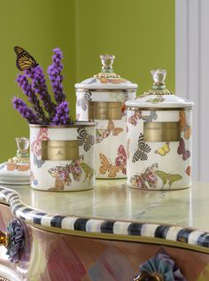 Each butterfly is playfully patterned with quintessential MacKenzie-Childs design elements.