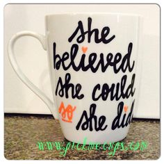 she believed she could so she did mug  motivational by PickMeCups