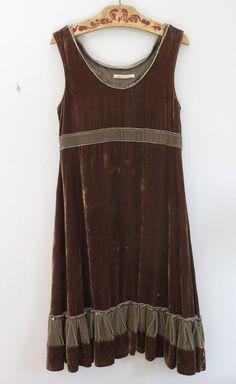 978b445d6dcd Cabbages & Roses Velvet Silk Olive Green/Brown DRESS size 8-10 | eBay