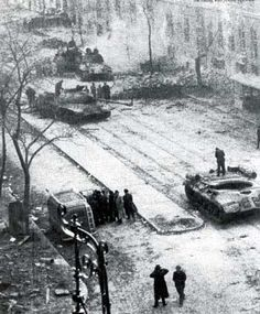 Budapest 1956 Disabled Soviet tanks in Budapest after the Soviet invasion. World Conflicts, Budapest Hungary, Historical Pictures, Eastern Europe, World War Ii, Great Places, Wwii, Russia, Cold War