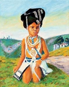 Young Xhosa In Traditional Dress By George Pemba Black Art Painting, Painting Of Girl, South Africa Art, Xhosa, Black Image, African Print Dresses, Historical Clothing, African Art, Beautiful Images