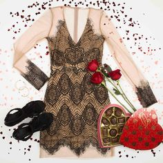 You deserve all the love. ❤️Spoil yourself in the 'Floral Mesh Lace Dress' & 'Fringe Me Ladies Night Heels.' 🌹💋🍫🍷