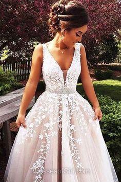 Low Back Prom Dress, Champagne Prom Dresses, Tulle Evening Dresses, V Neck Party Dresses, Princess Formal Dresses