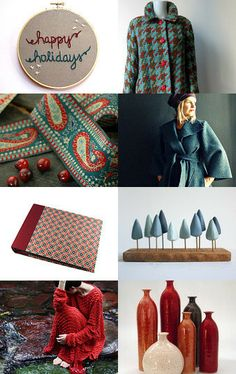 """""""happy holidays"""" by Milli Starr #teal and #red inspiration for the season Click image to view full treasury on #etsy--Pinned with TreasuryPin.com"""