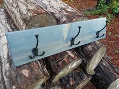"Rustic Coat Rack built from pine and stained in ""River Stone"". Three triple coat hooks offer lots of space to hang jackets, clothes, towels, or knick knacks!"