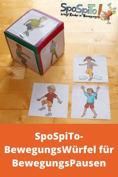 Der SpoSpiTo-BewegungsWürfel ist ein tolles Hilfsmittel um Action in eure Gruppe zu bringen. An jeder Seite des Würfels befindet sich ein Schubfach mit Klarsichtfolie, in welches verschiedene Bewegungsideen eingeschoben werden können. Durch das Zufallsprinzip des Würfelns wissen die Kinder nie was als nächstes kommt. So wird ganz natürlich Spannung aufgebaut und ein Überraschungseffekt erzielt. Der SpoSpiTo-BewegungsWürfel kann optimal für Bewegungspausen in Grundschulen eingesetzt werden.