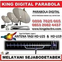 KING ELEKTRO Agen Resmi Pasang Antena tv - Parabola - Cctv - Anti Petir Head Office Jl Dr Semeru Raya No.1 Grogol Jakarta Barat Phone: 0851 0846 8555 - 0898 7825 665 ( www•kingelectro•com )  [PARABOLA HDMI] 1.Parabola Sisrem Fixed 2 Satelit 100 Chanel (Palapa - Telkom Lokal -Daerah & Rohani ) Harga Paket Rp.1.650.000 + Pasang Kelengkapan Yang Didapat: 1. Set Dish Jaring 7 Feet 1. Batang Tiang Triport 1. Unit Receiver HDMI 1. Set Lnbf Venus 10 Meter Kabel Coaxial RG 6 75 OHM  Salam.