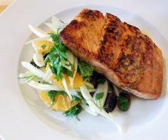 Orange-glazed salmon with fennel and olive salad