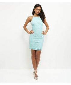 Mint Green Lace High Neck Strappy Bodycon Dress  | New Look