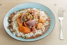 Liven up your winter veg!  Veg Tagine & Cauliflower Couscous is full of warm Moroccan spices #HairyDieter #recipe