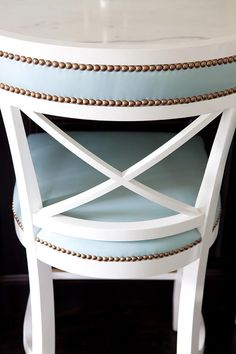 Beautiful chair—seems to be the trend color. Basically any piece of furniture with nailheads & I'm hooked.