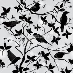 Birds silhouette on branch and leaf seamless background. — Stock Illustration #32518319