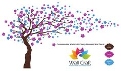Wall Craft Cherry Blossom Wall Sticker in Dark Brown, Fuchsia and Ethereal Blue