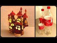"DIY Fairy House Lamp Using Coke Plastic Bottles Hello, in this tutorial I show you how I made a fairy house lamp using nothing but coca cola plastic bottles, tin foil, paint, hot glue and paper clay (I used ""Das modelling material"" but you can use any. Reuse Plastic Bottles, Plastic Bottle Crafts, Coke Bottle Crafts, Diy Bottle, Paper Butterflies, Paper Roses, Butterfly, Decorated Water Bottles, Clay Fairy House"