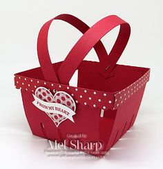 Groovy Love Berry Basket by Mel Sharp, Stamps: Groovy Love  Paper: Real Red, Brights Backgrounds DSP Stack  Ink: Real Red  Accessories: Big Shot, Berry Basket Die, Magnetic Platform, Bitty Banners Framelits, Sweetheart Punch, Silver Mini Brads, Multipurpose Liquid Glue, Stampin' Dimensionals