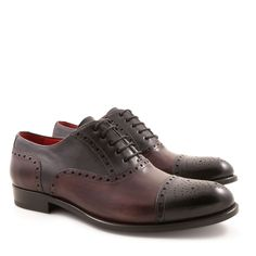 Handmade men's brogues oxford shoes in leather - Italian Boutique €304