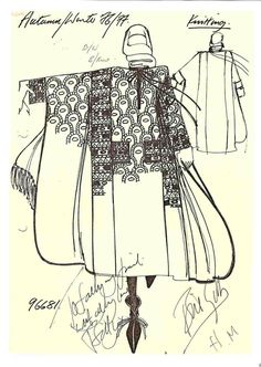 Bill Gibb, Autumn/Winter sketch by designer. Dedicated to Sally Pasmore. Byzantine knit by Kaffe Fassett. Biba Fashion, Fashion Art, Vintage Fashion, Fashion Brands, Fashion Sketchbook, Fashion Sketches, Fashion Illustrations, Fashion Design Portfolio, Textiles