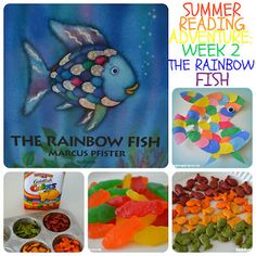 Summer Reading Adventure Week 2 - The Rainbow Fish. Fun Rainbow Fish book activities, crafts, and snack ideas! Maybe a weekly theme throughout the summer? Get books at the library that have to do with the theme. Preschool Books, Preschool Crafts, Crafts For Kids, Kindergarten Crafts, Reading Activities, Preschool Activities, Reading Themes, Library Activities, Time Activities