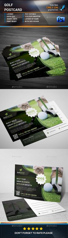 Golf Post Card Templates - Cards & Invites Print Templates