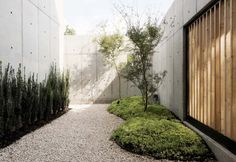 Located in Houston, United States, the Concrete Box House was constructed by Robertson Design, presenting a sculptural interpretation of concrete and wooden architecture. Wooden Architecture, Landscape Architecture, Landscape Design, Japanese Architecture, Concrete Wood, Concrete Design, Outdoor Landscaping, Outdoor Gardens, Outdoor Decor