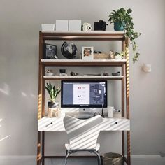 Inspired by Scandinavian modernism, our Modern Wall Desk pairs a sleek body with a pecan-finished frame and beautifully-angled legs. Bookcase Desk, Ladder Desk, Desk Bookshelf Combo, Desk With Shelves, Home Office Space, Home Office Design, Desk In Living Room, Living Room Decor, Apartment Desk
