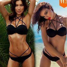 e94079ebc99e3 2016 The Newest Sexy Swin Suits Beach Hot Style Pure Color Black Bandage  Weave Sexy Bikini Set Women s Bathing Suit