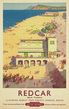 Vintage travel poster produced by British Railways BR to promote rail services to Redcar in Yorkshire Artwork by Ellis Silas This is truly an Posters Uk, Train Posters, Railway Posters, Online Posters, Poster Prints, Art Print, Vintage Beach Posters, British Travel, British Seaside