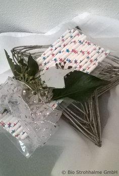 Weihnachten - Papiertrinkhalm Sterne rot-blau