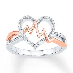 Heartbeat Ring 1/8 ct tw Diamonds Sterling Silver/10K Gold