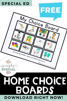 Simply Free Library - Home choice boards Special Education Activities, Special Education Classroom, Free Activities, Educational Activities, Autism Education, Waldorf Education, Future Classroom, Classroom Decor, Special Ed Teacher