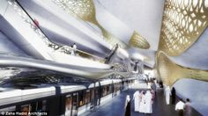 Lap of luxury: With marbled walkways, raised escalators and gold-plated walls, this proposed new metro station on Riyadh, Saudi Arabia, is a far cry from underground railway stations in other world cities