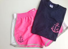 Womens Monogrammed Running Shorts and Shirt by brooklynbelleboutiq from brooklynbelleboutiq on Etsy. Summer Outfits, Casual Outfits, Cute Outfits, Preppy Style, My Style, Bae, Running Shorts, Swagg, In This World