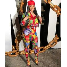 Character Avatar Printing Two Piece Sets Piece B Fashion, Autumn Fashion 2018, Fashion Outfits, Hottest Female Celebrities, Celebs, Cardi B Photos, Bodak Yellow, Hip Hop Party, Blue Jumpsuits