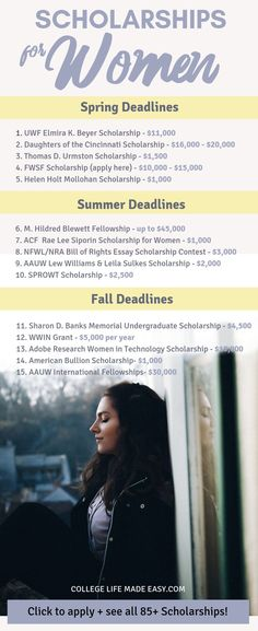 OVER 100 college scholarships for women compiled into one handy list! These are scholarships for girls mothers and all females who need money for college in Included are scholarships for minority women women in STEM fields and women in business. Grants For College, Financial Aid For College, College Planning, Online College, Education College, College Scholarships, College Tips, College Checklist, Financial Planning