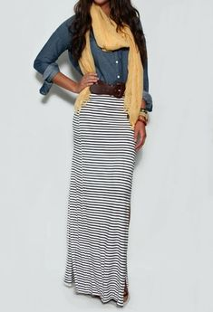 Striped Maxi Skirt & Denim Shirt.....maybe after I lose my extra lbs :)