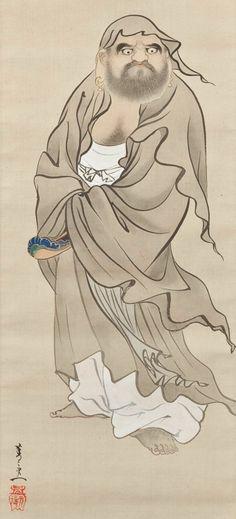 Daruma. ink, color, and gold on silk. About 1840's, Japan. Artist Suzuki Kiitsu