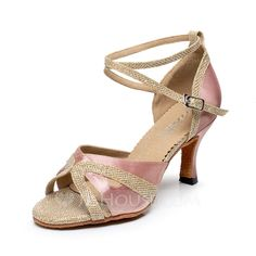 Women's Silk Heels Sandals Latin With Ankle Strap Dance Shoes (053066612)
