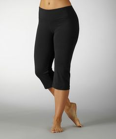 Look what I found on #zulily! Black Sanded Dry-Wik Flat-Waist Capri Pants by Balance Collection #zulilyfinds
