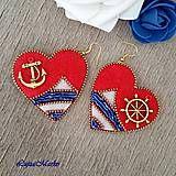 Náušnice - Verné srdce námorníka - 8228946_