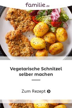 Haga el escalope vegetariano usted mismo - Con nuestra receta de schnitzel vegetariano, tiene la garantía de no perderse nada en su plato y a - Vegetarian Recipes Dinner, Healthy Dinner Recipes, Dessert Recipes, Clean Eating Recipes, Eating Clean, Quick Easy Meals, Food Inspiration, Tzatziki, Teller