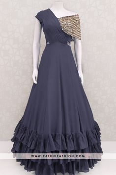 Designer Navy Blue Colored Indian Outfit With Elegant Work & Style Palkhi fashion presents navy blue very soft silk indian designer outfit from palkhi fashion.sequin embroidered & stone work with ruffle layer concept Party Wear Indian Dresses, Designer Party Wear Dresses, Indian Fashion Dresses, Indian Gowns Dresses, Kurti Designs Party Wear, Dress Indian Style, Indian Wedding Outfits, Indian Designer Outfits, Bridal Outfits